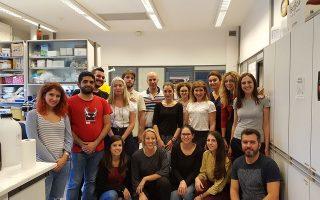Η ομάδα του Εργαστηρίου Ανοσοβιολογίας στο Ιδρυμα Ιατροβιολογικών Ερευνών της Ακαδημίας Αθηνών που έκανε την ανακάλυψη. Πίσω στο κέντρο, ο επικεφαλής της έρευνας κ. Ευάγγελος Ανδρεάκος, κάτω αριστερά, η Ιωάννα Γαλάνη, πρώτη συγγραφέας της μελέτης.