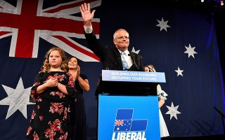 epa07581151 Australian Prime Minister Scott Morrison (2-R) with wife Jenny (2-L) and children Abbey (obscured) and Lily (L) after winning the 2019 Federal Election, at the Federal Liberal Reception at the Sofitel-Wentworth hotel in Sydney, Australia, 18 May, 2019. Approximately 16.5 million Australians have voted in what is tipped to be a tight election contest between Australian Prime Minister Scott Morrison and Australian Opposition leader Bill Shorten.  EPA/MICK TSIKAS AUSTRALIA AND NEW ZEALAND OUT