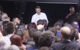Ο πρόεδρος της Νέας Δημοκρατίας,  Κυριάκος Μητσοτάκης, μιλάει σε ανοιχτή προεκλογική συγκέντρωση της Νέας Δημοκρατίας, στην πλατεία Γεωργίου Μόδη, στη Φλώρινα, την Πέμπτη 23 Μαΐου 2019. ΑΠΕ-ΜΠΕ/ΓΡΑΦΕΙΟ ΤΥΠΟΥ ΝΔ/ΠΑΠΑΜΗΤΣΟΣ ΔΗΜΗΤΡΗΣ