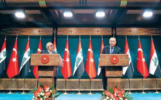 Ο Τούρκος πρόεδρος Ταγίπ Ερντογάν σε κοινή συνέντευξη Τύπου με τον Ιρακινό πρωθυπουργό Αντελ Μάχντι. Πέρα από τις φιλοδοξίες για άσκηση περιφερειακού ρόλου, η Τουρκία επιδιώκει να φέρει ξανά στο τραπέζι το ζήτημα των «παγωμένων» ενταξιακών διαπραγματεύσεων με την Ε.Ε.