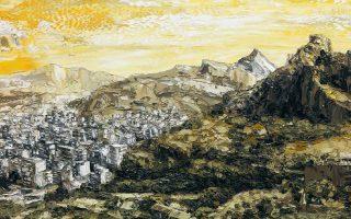 Πίνακας του Αχιλλέα Χρηστίδη, η ατομική έκθεση ζωγραφικής του οποίου συνεχίζεται έως τις 25 Μαΐου. Στην Αίθουσα Ζαχαρίου, Ομήρου 21, Κολωνάκι.