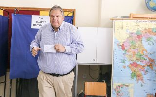 Ο πρώην πρόεδρος του ΠΑΣΟΚ Ευάγγελος Βενιζέλος βγαίνει από το παραβάν για να ασκήσει το εκλογικό του δικαίωμα για τις Βουλευτικές Εκλογές 2015 στο 8ο Δημοτικό Σχολείο Αμπελοκήπων Θεσσαλονίκης. Κυριακή 20 Σεπτεμβρίου 2015. Ομαλά και χωρίς ιδιαίτερα προβλήματα διεξάγεται από τις 7 το πρωί η εκλογική διαδικασία. Οι κάλπες κλείνουν στις 7 το απόγευμα, ενώ πρώτη ασφαλή εκτίμηση του αποτελέσματος θα έχουμε λίγο μετά τις 9 καθώς τότε υπολογίζεται ότι θα έχει καταμετρηθεί το 10% των ψήφων της επικράτειας. ΑΠΕ ΜΠΕ/PIXEL/ΜΠΑΡΜΠΑΡΟΥΣΗΣ ΣΩΤΗΡΗΣ