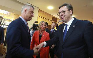 H «θερμή» χειραψία που αντάλλαξαν σήμερα ο Σέρβος πρόεδρος Βούτσιτς και ο πρόεδρος του Κοσόβου, Χασίμ Θάτσι, στην συνάντηση αρχηγών κρατών των Δυτικών Βαλκανίων, στο πλαίσιο της «Διαδικασίας Μπρντο-Μπριούνι»
