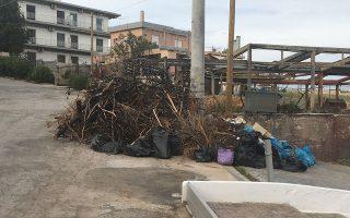 Κομμένα κλαδιά και κάθε είδους σκουπίδια περιμένουν για μήνες στους δρόμους τα συνεργεία του δήμου. Λίγα μόλις μέτρα πιο πέρα, κατάστημα που καταστράφηκε ολοσχερώς στην περυσινή πυρκαγιά.