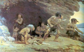 «Οι Νεάντερταλς του Le Moustier» πίνακας του Charles R. Knight, @wikipedia
