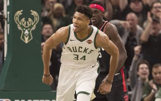 May 17, 2019; Milwaukee, WI, USA; Milwaukee Bucks forward Giannis Antetokounmpo (34) reacts after scoring during the first quarter against the Toronto Raptors in game two of the Eastern conference finals of the 2019 NBA Playoffs at Fiserv Forum. Mandatory Credit: Jeff Hanisch-USA TODAY Sports