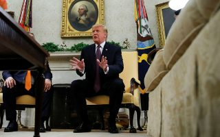 U.S. President Donald Trump talks to reporters during a meeting with Hungary's Prime Minister Viktor Orban in the Oval Office at the White House in Washington, U.S., May 13, 2019. REUTERS/Carlos Barria