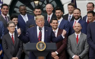 U.S. President Donald Trump speaks as he welcomes the Boston Red Sox to honor the team as the 2018 World Series Champions on the South Lawn at the White House in Washington, U.S. May 9, 2019.  REUTERS/Kevin Lamarque