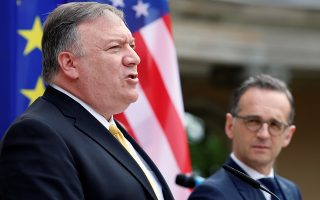 U.S. Secretary of State Mike Pompeo speaks during a joint news conference with German Foreign Minister Heiko Maas at Villa Borsig guest house in Berlin, Germany, May 31, 2019. REUTERS/Fabrizio Bensch