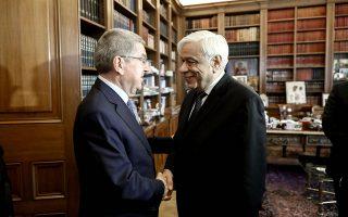 Μεταξύ των θεμάτων που συζητήθηκαν ανάμεσα στον κ. Παυλόπουλο και στον κ. Μπαχ ήταν ο Ελληνας «Αθάνατος» και η υποψηφιότητα της Ελλάδας για τη διοργάνωση της συνόδου της ΔΟΕ το 2021.