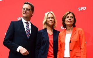 Το τριμελές μεταβατικό ηγετικό σχήμα των Γερμανών Σοσιαλδημοκρατών, Τόρστεν Σέφερ-Γκίμπελ, Μανουέλα Σβέσιχ και Μάλου Ντρέγιερ.