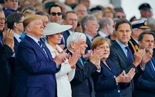 Στη φωτογραφία, οι Ντόναλντ και Μελάνια Τραμπ, ο Προκόπης Παυλόπουλος και η Αγκελα Μέρκελ σε ένα στιγμιότυπο της εκδήλωσης.