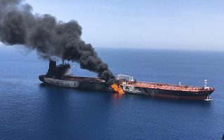 An oil tanker is on fire in the sea of Oman, Thursday, June 13, 2019. Two oil tankers near the strategic Strait of Hormuz were reportedly attacked on Thursday, an assault that left one ablaze and adrift as sailors were evacuated from both vessels and the U.S. Navy rushed to assist amid heightened tensions between Washington and Tehran. (AP Photo/ISNA)
