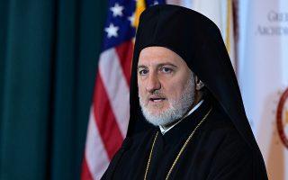 Ο Αρχιεπίσκοπος Αμερικής Ελπιδοφόρος στην πρώτη του συνέντευξη Τύπου σε Ελληνες και ομογενείς δημοσιογράφους, χθες.