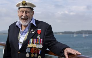 epa07625245 A handout picture provided by the British Ministry of Defence showing British Royal Navy veteran George Frost enjoys the show as the MV Boudicca sails into Poole, southern England, 04 June 2019, as D Day veterans sail to take part in the national memorial events marking the 75th anniversary of the Allied landings on the beaches of Normandy, France, 06 June 1944. Reports stae that that more than 300 Normandy veterans have begun their journeys to D-Day75 events in Portsmouth and in Normandy. Around 250 veterans, who are now all over 90 years old, departed Dover last night on a specially-commissioned ship (MV Boudicca) chartered with funds from The Royal British Legion and a LIBOR grant from HM Treasury. World leaders are to attend memorial events in Normandy, France on 06 June 2019 to mark the 75th anniversary of the D-Day landings, which marked the beginning of the end of World War II in Europe.  EPA/PETTY OFFICER OWEN COOBAN /BRITISH MINISTRY OF DEFENCE/HANDOUT MANDATORY CREDIT: MOD PETTY OFFICER OWEN COOBAN /CROWN COPYRIGHT HANDOUT EDITORIAL USE ONLY/NO SALES