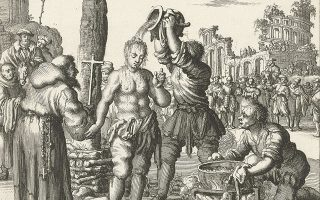 Ενα από τα αλλόκοτα ντεκόρ του σπιτιού του ήρωα του Ουισμάνς είναι οι παραισθησιακές εικονογραφήσεις τρομακτικών χαρακτικών της σειράς με τίτλο «Θρησκευτικοί διωγμοί» του Ολλανδού καλβινιστή Γιαν Λούικεν, όπως η παραπάνω: το μαρτύριο του φοιτητή Αλγέριου στην Πάντοβα, όπως το αποτύπωσε ο Γιαν Λούικεν το 1685.  Συλλογή Rijksmuseum, Αμστερνταμ.
