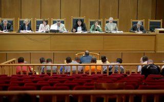 Η έδρα εξετάζει κατηγορούμενο στη δίκη της Χρυσής Αυγής στο Εφετείο Αθηνών , Τρίτη 25 Ιουνίου 2019. Με τις απολογίες των 18 κατηγορούμενων μελών της Χρυσής Αυγής που εμπλέκονται στη δολοφονία του Παύλου Φύσσα συνεχίζεται η δίκη στο Εφετείο Αθηνών . ΑΠΕ-ΜΠΕ/ΑΠΕ-ΜΠΕ/Παντελής Σαίτας