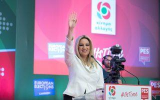 Η πρόεδρος του Κινήματος Αλλαγής Φώφη Γεννηματά, κατά τη διάρκεια της κεντρικής προεκλογικής συγκέντρωσης στη Θεσσαλονίκη, δύο ημέρες πριν από τις εκλογές της 26ης Μαΐου.