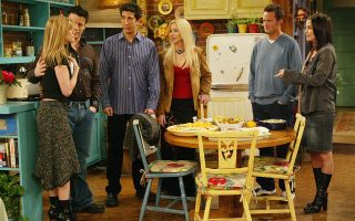 The cast of NBC's comedy television series 'Friends' appear in a scene from the final episode in this undated publicity photo. Shown (L-R) Jennifer Aniston as Rachel, Matt Le Blanc as Joey, David Schwimmer as Ross, Lisa Kudrow as Pheobe, Matthew Perry as Chandler, and Courtney Cox Arquette as Monica. The series finale will be telecast in Spring 2004.   NO SALES  EDITORIAL USAGE ONLY     REUTERS/2004 Warner Bros. Entertainment Inc/Handout