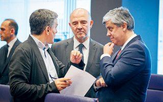 O πρόεδρος του Eurogroup Μάριο Σεντένο και ο επίτροπος Πιερ Μοσκοβισί θα έχουν πολλά να πουν στον υπουργό Οικονομικών Ευκλείδη Τσακαλώτο.