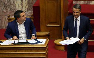 Ο πρωθυπουργός Αλέξης Τσίπρας (Α), και ο πρόεδρος της Νέας Δημοκρατίας Κυριάκος Μητσοτάκης (Δ), στην συζήτηση στην Ολομέλεια της Βουλής επί της παροχής ψήφου εμπιστοσύνης στην Κυβέρνηση, Αθήνα, Τετάρτη 8 Μαίου 2019. Η συζήτηση και η ψηφοφορία θα ολοκληρωθούν τα μεσάνυχτα της Παρασκευής 10 Μαίου.  ΑΠΕ-ΜΠΕ/ΑΠΕ-ΜΠΕ/ΟΡΕΣΤΗΣ ΠΑΝΑΓΙΩΤΟΥ
