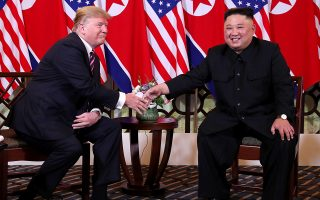 U.S. President Donald Trump and North Korean leader Kim Jong Un shake hands before their one-on-one chat during the second U.S.-North Korea summit at the Metropole Hotel in Hanoi, Vietnam February 27, 2019. REUTERS/Leah Millis