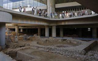 Η ανεσκαμμένη έκταση με σπίτια, εργαστήρια, λουτρά και δρόμους μιας αρχαίας αθηναϊκής γειτονιάς που βρίσκεται κάτω από το Μουσείο της  Ακρόπολης θα είνια επισκέψιμη στο κοινό από 21 Ιουνίου, με την ευκαιρία των 10 χρόνων λειτουργίας του Μουσείου Ακρόπολης, Τετάρτη 5 Ιουνίου 2019. ΑΠΕ-ΜΠΕ/ΑΠΕ-ΜΠΕ/ΑΛΕΞΑΝΔΡΟΣ ΒΛΑΧΟΣ
