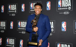 June 24, 2019; Los Angeles, CA, USA; Milwaukee Bucks forward Giannis Antetokounmpo poses with his NBA most valuable player at the 2019 NBA Awards show at Barker Hanger. Mandatory Credit: Gary A. Vasquez-USA TODAY Sports
