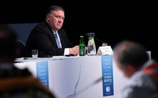 U.S. Secretary of State Mike Pompeo attends the Arctic Council summit at the Lappi Areena in Rovaniemi, Finland May 7, 2019. Mandel Ngan/Pool via REUTERS