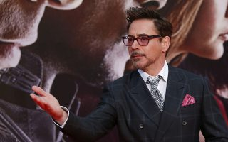 Actor Robert Downey Jr. poses before the German premiere of