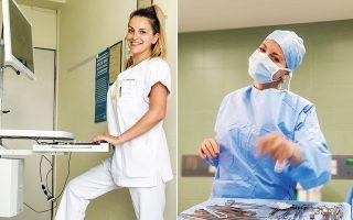 Η Βίκυ Πολύζου, μία από τις δέκα καλύτερες μάνατζερ υγείας στη Γερμανία, με τον φορητό υπολογιστή, με τον οποίο επεξεργάζεται τον ηλεκτρονικό φάκελο του ασθενούς. Μία από τις νεότερες προϊσταμένες στο Μόναχο, η 26χρονη Αννα Γατούδη, που εργάζεται στην καρδιοχειρουργική πτέρυγα του Deutsches Herzzentrum.