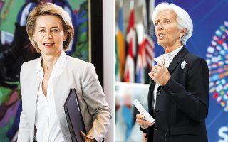 Δύο γυναίκες, η Γερμανίδα υπουργός Αμυνας Ούρσουλα φον ντερ Λάιεν (αριστερά) και η Γαλλίδα επικεφαλής του ΔΝΤ Κριστίν Λαγκάρντ, αναλαμβάνουν τα σημαντικότερα πόστα της Ε.Ε., την προεδρία της Κομισιόν και της ΕΚΤ αντίστοιχα. Η συμφωνία που επετεύχθη έπειτα από πολύωρες διαπραγματεύσεις θεωρείται νίκη του Βερολίνου και της Αγκελα Μέρκελ.