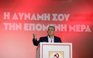 Ο Δημήτρης Κουτσούμπας υπογράμμισε, κατά την ομιλία του, ότι ψήφος σε «κόμματα μιας χρήσης» είναι ψήφος χαμένη.