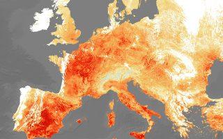 Ποια κλιματική αλλαγή; Αν κάποιος θεωρεί ότι ο πρόσφατος καύσωνας δεν είχε σχέση με όσα καταστροφικά κάνουμε στον πλανήτη μας ας ρίξει μια ματιά στην εικόνα που έδωσε στην δημοσιότητα η Ευρωπαϊκή Διαστημική Υπηρεσία και δείχνει μια Ευρώπη να καίγεται καθώς αποτυπώνεται η θερμοκρασία της γης. EPA/EUROPEAN SPACE AGENCY