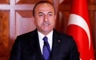 Ο Τούρκος υπουργός Εξωτερικών, Μεβλούτ Τσαβούσογλου, απευθύνεται σε δημοσιογράφους, σε συνέντευξη Τύπου στην Αγκυρα. Τη Δευτέρα, ο Τσαβούσογλου προειδοποίησε ότι η Τουρκία θα αναζητήσει νέους αμυντικούς συνεργάτες, σε περίπτωση που εκδιωχθεί από το πρόγραμμα των F-35.