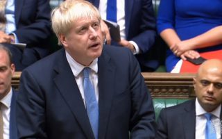 epa07739273 A grab from a handout video made available by the UK Parliamentary Recording Unit shows British Prime Minister Boris Johnson gives his inaugural speech at the House of Commons parliament in London, Britain, 25 July 2019. Johnson gave his first speech as Prime Minister after the Queen appointed him the previous day.  EPA/UK PARLIAMENTARY RECORDING UNIT / HANDOUT MANDATORY CREDIT: UK PARLIAMENTARY RECORDING UNIT HANDOUT EDITORIAL USE ONLY/NO SALES