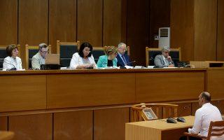 Ο κατηγορούμενος για την υπόθεση της δολοφονίας του Παύλου Φύσσα, Αριστοτέλης Χρυσαφίτης , απολογείται κατά τη διάρκεια της δίκης της Χρυσής Αυγής στην αίθουσα του Εφετείου,, Αθήνα, Παρασκευή 26 Ιουλίου 2019. ΑΠΕ-ΜΠΕ/ΑΠΕ-ΜΠΕ/Παντελής Σαίτας