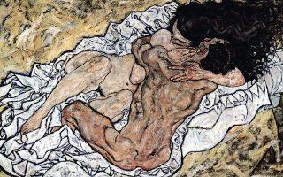 «Η αγκαλιά», 1917. Εργο του Αυστριακού εξπρεσιονιστή ζωγράφου Εγκον Σίλε (1890-1918).