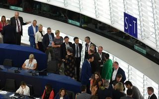 epa07691144 Members of Parliament vote on the Parliament's President at the European Parliament, in Strasbourg, France, 03 July 2019. A vote for the new EU Parliament's presidency had been postponed to 03 July 2019 following the parliament's inaugural session on 02 July.  EPA/PATRICK SEEGER