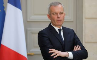 FILE PHOTO: French Minister for the Ecological and Inclusive Transition Francois de Rugy takes part in a news conference after the first Council for Environmental Defence at the Elysee Palace in Paris, France May 23, 2019. Ludovic Marin/Pool via REUTERS/File Photo