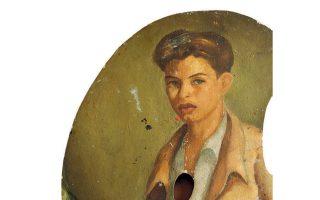 Η αγαπημένη παλέτα του Νίκου Κούνδουρου με ζωγραφισμένη πάνω την αυτοπροσωπογραφία του, θα εκτεθεί επίσης στη Θεσσαλονίκη.
