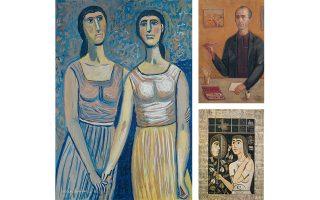 «Οι δύο φίλες» (1966), τέμπερα σε χαρτί (αριστερά). «Αυτοπροσωπογραφία» του Ράλλη Κοψίδη, ελαιογραφία σε καμβά (δεξιά πάνω), και «Γυναίκα στο παράθυρο» (1972), ακρυλικό σε ξύλο (δεξιά κάτω).