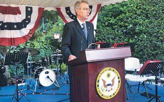 Ο Αμερικανός πρέσβης Τζέφρεϊ Πάιατ στον πανηγυρικό λόγο του για την 243η επέτειο από την Ανακήρυξη της Ανεξαρτησίας των Ηνωμένων Πολιτειών.