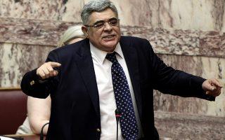 Ο γραμματέας της Χρυσής Αυγής Νίκος Μιχαλολιάκος μιλάει κατά τη συζήτηση για την διεξαγωγή ονομαστικής ψηφοφορίας για το δημοψήφισμα στην Ολομέλεια της Βουλής, Σάββατο 27 Ιουνίου 2015. Σύμφωνα με την σχετική απόφαση και πρόταση του Υπουργικού Συμβουλίου προς τη Βουλή, κατόπιν εισήγησης του Πρωθυπουργού, κατά την διαδικασία του προτεινόμενου δημοψηφίσματος, ο ελληνικός λαός καλείται να αποφασίσει με την ψήφο του εάν πρέπει να γίνει αποδεκτό το σχέδιο συμφωνίας το οποίο κατέθεσαν η Ευρωπαϊκή Επιτροπή, η Ευρωπαϊκή Κεντρική Τράπεζα και το Διεθνές Νομισματικό Ταμείο στο Eurogroup. ΑΠΕ-ΜΠΕ/ΑΠΕ-ΜΠΕ/ΣΥΜΕΛΑ ΠΑΝΤΖΑΡΤΖΗ