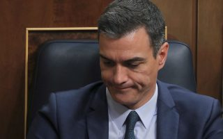 Spain's acting Prime Minister Pedro Sanchez reacts during the final day of the investiture debate at the Parliament in Madrid, Spain July 25, 2019. REUTERS/Sergio Perez