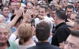 Ο πρόεδρος της Νέας Δημοκρατίας Κυριάκος Μητσοτάκης, μιλάει σε πολίτες κατά τη διάρκεια την επίσκεψής του στα Γιαννιτσά, την Παρασκευή 5 Ιουλίου 2019. Ο πρόεδρος της ΝΔ πραγματοποιεί περιοδεία στην Πιερία, την Ημαθία και την Πέλλα και θα κλείσει την προεκλογική του εκστρατεία στη Θεσσαλονίκη, όπου θα κάνει βόλτα στην Πλατεία Αριστοτέλους και θα συνομιλήσει με πολίτες. ΑΠΕ-ΜΠΕ/ΓΡΑΦΕΙΟ ΤΥΠΟΥ ΝΔ/ΔΗΜΗΤΡΗΣ  ΠΑΠΑΜΗΤΣΟΣ