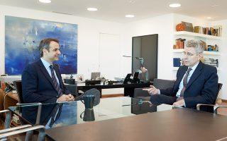 Ο πρόεδρος της Νέας Δημοκρατίας Κυριάκος Μητσοτάκης (Α) συναντήθηκε με τον πρέσβη των Ηνωμένων Πολιτειών Αμερικής  Τζέφρει Πάιατ (Δ), Παρασκευή 26 Ιανουαρίου 2018. ΑΠΕ-ΜΠΕ/ΓΡΑΦΕΙΟ ΤΥΠΟΥ ΝΔ/ΔΗΜΗΤΡΗΣ ΠΑΠΑΜΗΤΣΟΣ
