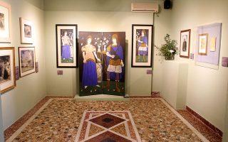 Αποψη της έκθεσης με έργα Τσαρούχη στο αρχοντικό της Χώρας Ανδρου.