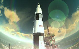 Η στιγμή της εκτόξευσης του «Απόλλων 11» όπως αποτυπώνεται στον θόλο του Νέου Ψηφιακού Πλανηταρίου.