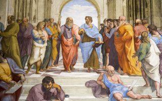 Ο Πλάτωνας (αριστερά, με υψωμένο το χέρι) συνομιλεί με τον Αριστοτέλη. Λεπτομέρεια από τη νωπογραφία του Ραφαήλ «Η Σχολή των Αθηνών».